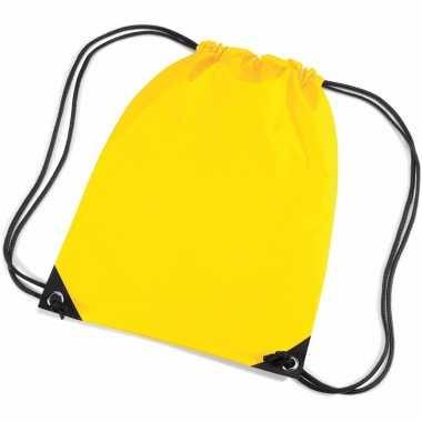 10x stuks gele rugtas/ rugtasjes met rijgkoord 45 x 34 cm