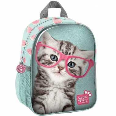 Katten/poezen school rugtas/rugtas 28 cm voor peuters/kleuters/kinderen