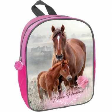 Paard met veulen rugtas/rugtas roze voor meisjes 29 x 23 x 10 cm