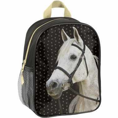 Paarden rugtas/rugtas zwart voor meisjes 28 x 22 x 10 cm