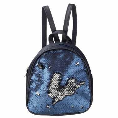 Rugtas/rugzak blauw met pailletten 19 cm voor meisjes