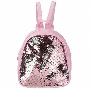 Rugtas/rugzak roze met pailletten 19 cm voor meisjes