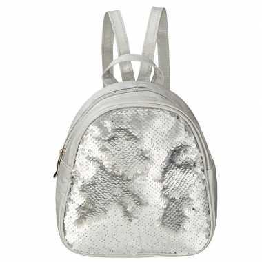Rugtas/rugzak zilver met pailletten 19 cm voor meisjes