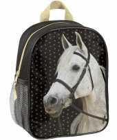 Paarden rugtas rugtas zwart voor meisjes 28 x 22 x 10 cm