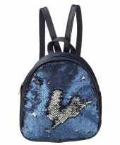 Rugtas rugzak blauw met pailletten 19 cm voor meisjes